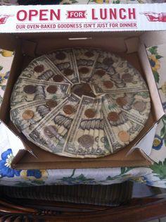 birthday, money gift wrapping ideas, craft, money pizza, creative money gift ideas, money idea, creativ money, cards, kid