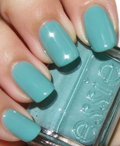 Essie, Greenport. I have been looking for this! Its darker than mint candy, not as bright as turq and caicos, but more aqua than mermaids tears. I'd love to find it in store!