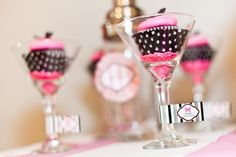 Cute way to display cupcakes: In martini glasses with sprinkles!