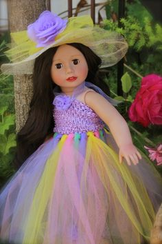 """18"""" Doll Melody Rose wearing a rainbow tutu dress that fits American Girl. Both available at www.harmonyclubdolls.com"""
