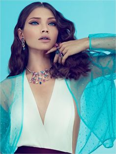 love the makeup, jewelry and shades of blue! - Margaryta Senchylo by Andoni & Arantxa for Yo Dona April 2012