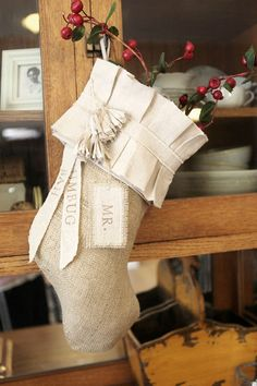 Burlap Christmas Stocking cotton pleats cotton by atcompanyb, $75.00