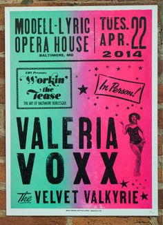 Valeria Voxx burlesque poster by Globe Poster