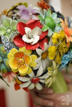 Colorful antique brooch bouquet!