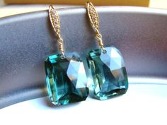 Pave Green Amethyst Gold Earrings  Luxury  by VeraidaGifts on Etsy, $84.00
