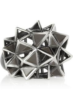 Bottega Veneta Blackened sterling silver caged spike ring NET-A-PORTER.COM