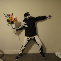 """Banksy """"Flower Thrower"""" Costume. Curated by Suburban Fandom, NYC Tri-State Fan Events: http://yonkersfun.com/category/fandom/"""