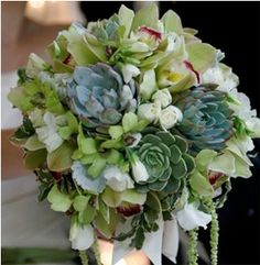 Gorgeous #succulent and #orchid #wedding #bouquet