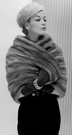 1950's Model Jean Patchett wearing a divine mink capelet