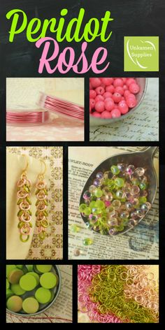Girly and Sweet #Peridot #Rose #Jewelry and #Chainmaille