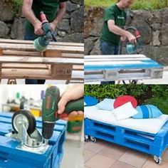 Outdoor patio furniture...recycled. Two pallets, wheels, paint and cushions--easy peasy! pallet idea, craft, outdoor patio pallet furniture, outdoor patios, garden pallets seating, home made garden furniture, patio furniturerecycl, diy, palette patio furniture