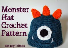 monster hat, crochet tutorials, crochet hats, hat patterns, baby hats, little monsters, crochet patterns, little boys, kid