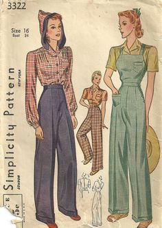 Vintage 40s Sewing Pattern High Waist Pants by studioGpatterns, $50.00