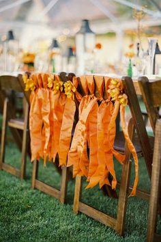 chair covers, funky chairs, orang, wedding blog, fall weddings
