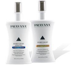 Pravana Pure Light Brightening shampoo & acondicionador - neutraliza los tonos amarillos en cabellos rubios o canas