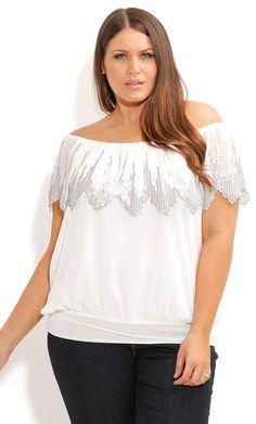 SEQUIN FLUTTER TOP - Women's Plus Size Fashion