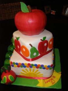 """""""The Very Hungry Caterpillar"""" themed cake"""
