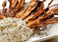 Eggplant Chips with Cucumber Dip