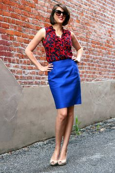 Cute little work outfit! daily outfit, true colors, color combos, blue, pencil skirts, work outfits, style blog, bright colours, bright colors