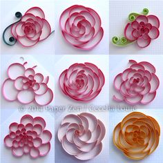 Cut-Coil Quilling for Rounded Flowers. Experimenting with various lengths and methods to achieve a consistent finished design, but proved to be quite challenging.
