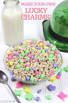 How to Make Your OWN Lucky Charms! charms, food nom, breakfast, food coloring, homemad lucki, charm marshmallow, copycat recipes, kid, lucki charm