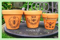 How to Decorate Flower Pots  by A Lapin Life