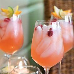 Pink Lemonade Cocktail:  - 1 (12-oz.) can frozen pink lemonade concentrate, thawed  - 3 (12-oz.) bottles beer (not dark), chilled  - 3/4 cup vodka, chilled   - Ice  - Garnishes: fresh cranberries, citrus slices  http://www.slurp.co.uk/