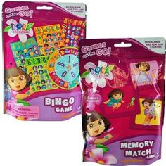*Includes 1 Dora the explorer Memory Match Game and 1 Bingo Game in a resealable bag for easy storage *Memory Match Game includes 54 memory match card and instructions *Bingo game includes 4 bingo cards, 1 bingo spinner, playing chips and instructions