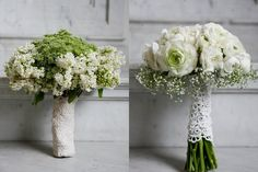 LOVE these bouquets, w/lace-wrapped stems.
