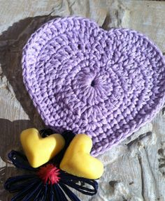 HEART shaped Facial Cloths Coasters Dish Cloths Set by grammalea, $6.00