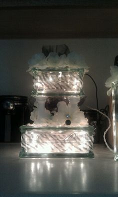 Glass block cake I used at my wedding on the guest table