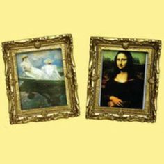 Miniature --  Mona Lisa & Monet Paintings    Approx. Measurements 6cm x 8 cm    Scale 1/12    Ideal for :        Craft projects      Decorating around your doll house