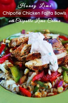 Honey Lime Chipotle Chicken Fajita Bowls with Chipotle Lime Crema - Testing this next week for my Shrinking On a Budget Meal Plan.  I have a wonderful lime/sour cream dressing that is low in fat that would lighten this up for my meal plan service.  Looks amazing!