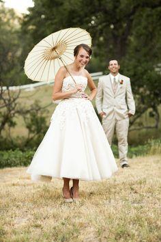 parasol! good idea for vintage Victorian touch bouquet, wedding dressses, wedding ideas, umbrella, parasol, the dress, bride, short dresses, vintage style