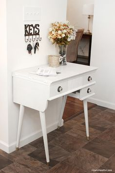 Sewing table turned kitchen landing table with Modern Masters Snowflake Metallic Paint   By How To Nest For Less