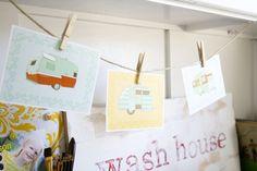 Lovely printable camper postcards.  #printable #cute #camper #design #free #print