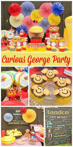 A Curious George boy birthday party with monkey cupcakes and a DIY banana split bar! See more party ideas at CatchMyParty.com!