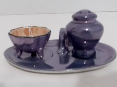 Vintage Salt Cellar and Pepper Shaker with Tray