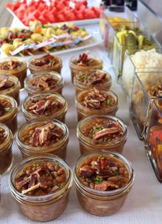 Loved the baked beans in mini mason jars! Perfect Idea for picnics,cookouts,or even an upscale rustic corporate event or wedding! Mason jars are just Country/Rustic Chic and can be used for anything! :)