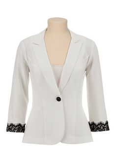 One Button Contrast Lace Blazer (original price, $49) available at #Maurices