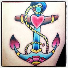 Old school anchor.  Possible idea for my Navy tattoo...... navi tattoo, color tattoo, old school, school anchor, anchor tattoos