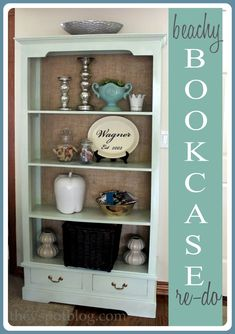 A beach inspired bookcase re-do.  Line the back with burlap