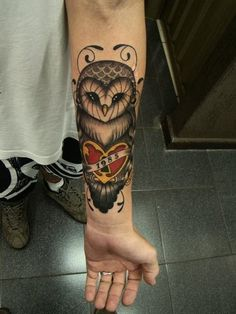 tattoo #guys  #man #tatts #tattoos owl heart lock ink