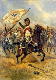 Fr Dragoon cavalry charge with captured prussian flag
