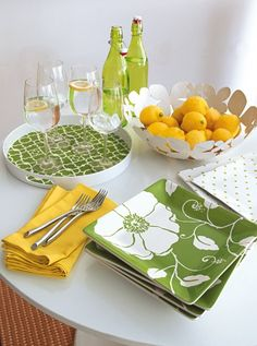 Citrus inspired kitchen. Such a clean and fresh look!