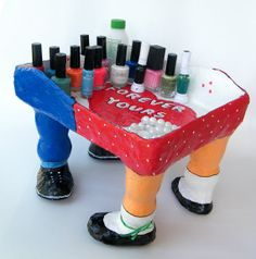 Whimsical nail polish holder Red blue white nail by RecycoolArt, $48.00