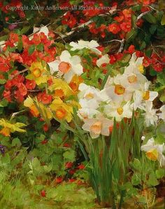 Quince and Daffodils - Oil by Kathy Anderson