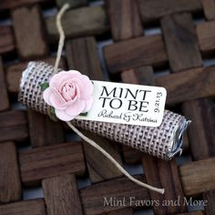 """Mint Wedding Favor with Personalized """"Mint to be"""" tag - Rustic, burlap, blush pink, pale pink on Etsy, $41.17 CAD"""