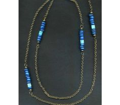 Necklace With Metallic Sapphire Blue Beads, $32.75