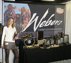 Weber's Camo Leather Goods uses an 8' high by 10' wide polyester duck banner, full color DyeLux imprinted, for a backdrop in their trade show booth.